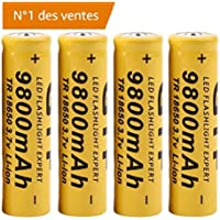 Rechargeables,Covermason Batterie Rechargeable Li-ION de 4Pcs 3.7V 18650 9800mah pour la Torche de Lampe-Torche de LED