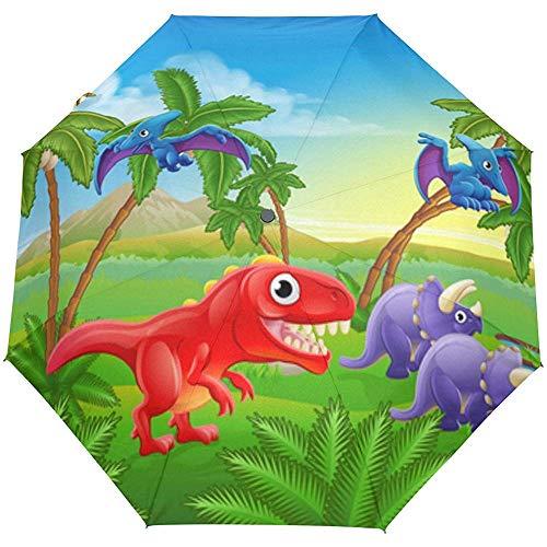 Tropische Dinosaurier Forest Palm Trees Animals Auto Öffnen Schließen Sun Rain Umbrella