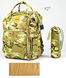 T-Bags Mommy and Baby Light Green Camouflage Large Backpack Diaper Bag With Bottle Cover And Changing Mat-MB31C
