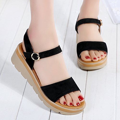 Lgk & fa estate sandali da donna estate tacco piatto fondo Student sandali scarpe da donna alla moda con spessore fondo cuoio donne incinte, 38 Brown 36 black