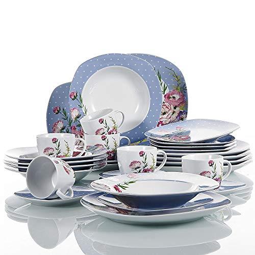 VEWEET 30-teilig Porzellan Tafelservice, Serie \'Hannah\', Kombiservice für 6 Personen, Blau mit Floral Dekor