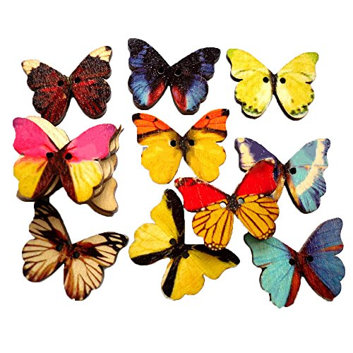 Gemischte Farbe 50pcs Schmetterling 28mm, die Holzknöpfe Shrit Kleidung nähen für Hemden Baby Pullover (Diy Kostüm Heimwerker)