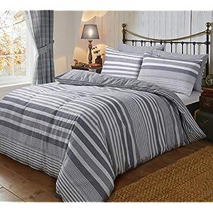 Sleepdown Flannel Stripe Grey Reversible Soft Duvet Cover Quilt Bedding Set With Pillowcases - Double (200cm x 200cm)