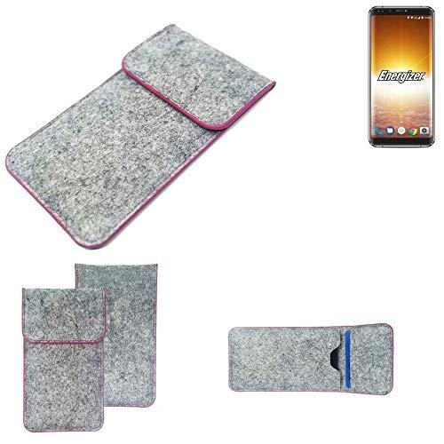 K-S-Trade® Filz Schutz Hülle Für Energizer P600S Schutzhülle Filztasche Pouch Tasche Case Sleeve Handyhülle Filzhülle Hellgrau Pinker Rand