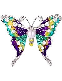 U7 Broche Mujer de Estrás Austriaco Mariposa/Abeja/Abeja con Margarita Diseño de Animal Multicolor Broche para Ropa Mujer