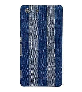 PrintVisa Denim Stripes Pattern 3D Hard Polycarbonate Designer Back Case Cover for Sony Xperia M5 Dual