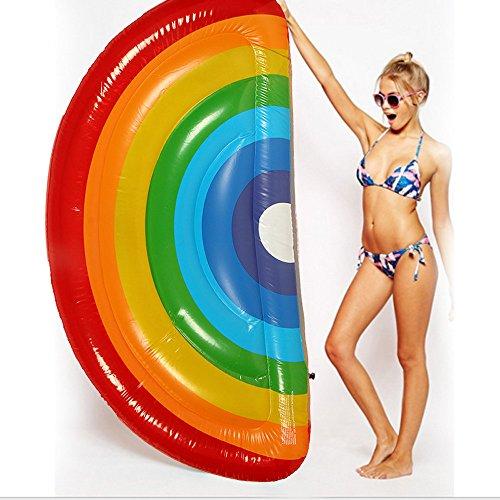 chwimmt für Erwachsene 70 '' riesiger aufblasbarer Regenbogen-Pool-Schwimmer Schwimmkissen Wasser aufblasbares Spielzeug für die Sommerferien Pool-Party Reise, 180 x 90 cm ()