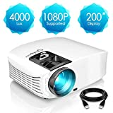 ELEPHAS Projector, 4000 Lux HD Video Projector 200'' Home Cinema LCD Movie Projector