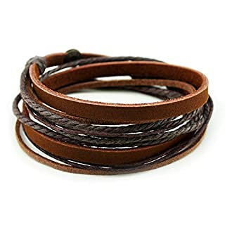 Unisex Genuine Leather Cuff Wrap Bracelet Brown Rope Wristband (Brown)