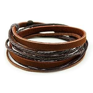 Armband Echtes Leder Doppe Wlickelarmband Handcraft Armreif mit Baumwolle Seil – Kaffee