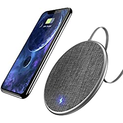 Fast Wireless Charging Pad, Auckly 10W Jean Fabric Fast Wireless Charger for iPhone 8/ 8 Plus/ X and Samsung Galaxy Note8/ Note5/S9 / S8 / S8 Plus/ S7/ S7edge/ S6/ S6 edge, Nexus 4/5/6/7, LG and Other Qi Enable Devices