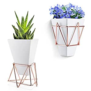 Love-KANKEI Succulent Vase/Wall Plant Pot-Wall or Desk Decoration with White Ceramic Vase and Copper for Hold Succulents, Cactus, Air Plant Pack of 2