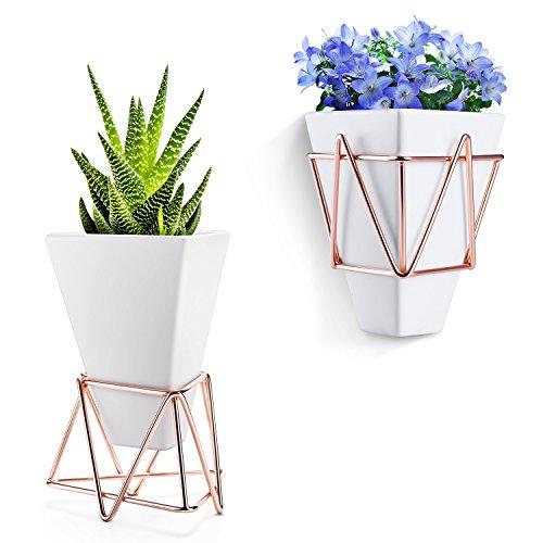 Blumentopf hängend Wand Vase Blumentopf deko - Love-KANKEI 2 in 1 Blumentopf klein weiß keramik für Ihnen/Wohnzimmer/Schreibtisch, modern Design zum Aufhängen, 2er Set