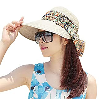 ABLE Wide Brim Cap Visor Hats UV Protection Sun Hats with Neck Cover for Women (beige)