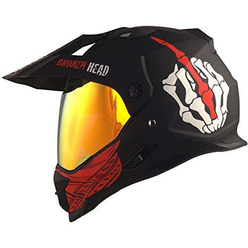 Broken Head Street Rebel rot Cross-Helm Set mit Rot verspiegeltem Visier   Enduro-Helm - MX Motocross Helm mit Sonnenblende - Quad-Helm (M 57-58 cm)