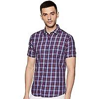 Amazon Brand - House & Shields Men's Checkered Regular fit Casual Shirt (SS20-HS-RR-HS-E_Red&Blue M)