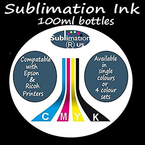 100ML of Pigment INK compatable with DYE SUBLIMATION PRINTING - choose CYAN (C) MAGENENTA (M) YELLOW (Y) BLACK (K) or FULL SET OF 4 CMYK COLOURS - used for dye sub heat transfer printing of suitable sublimation coated blanks and polyester items such as mugs tshirts t shirts iphone covers / cases mousemats mouse mats metal signs / sheets coasters key rings etc transfer paper also required (YELLOW (Y))