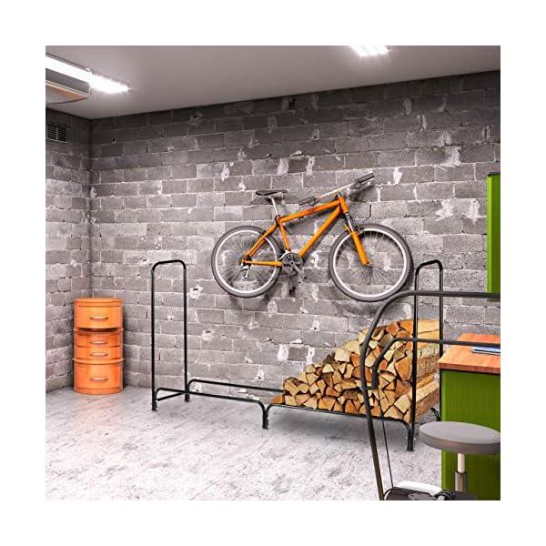 Relaxdays Leñero Exterior e Interior, Acero, 122 x 245 x 40 cm, Negro