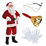 Deluxe Regal Plush Men's Santa Claus Father Christmas Suit Fancy Dress Costume Includes Santa's Half Moon Spectacle Glasses White Professional Gloves & Ringing Bell by Fancy Dress VIP