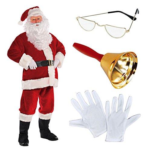 cb0e35a48ca42 Deluxe Regal Plush Men's Santa Claus Father Christmas Suit Fancy Dress  Costume Includes Santa's Half Moon