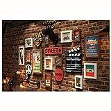 Mur de photo décoratif vintage vent industriel cadre photo cadre photo fond mur tête de cerf horloge murale combinaison de photo tenture murale peinture décorative (185 * 104 cm) (Couleur : A)