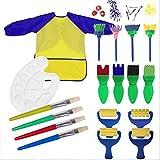 Schwamm Malerei Pinsel Set, Centtechi 18 Stück Sponge Paint Brush Set Art Craft DIY Zeichnen Pinsel-Set mit Palette und Schürze Malerei Werkzeuge für Kinder Early Learning Puzzle Spielzeug