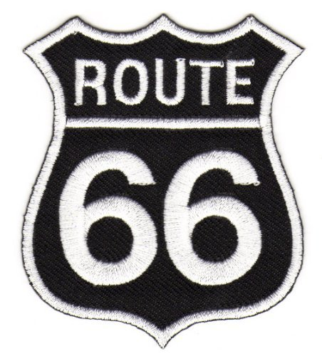 Parches - Route 66 Biker Rocker - negro - 6.5x8.3cm - termoadhesivos bordados aplique para ropa