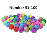 Fancylande Table Tennis Ping Pong Balls, Colorful Entertainment Ping Pong Balls with Number for Group Fun Games, Advertising, Lucky Draw (50pcs)