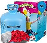 Helium Ballongas + 50 rote Herzluftballons Ø 25cm + Polyband; HeliumStar® Einwegflasche XXL Helium Gas für 50 Ballons