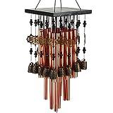 Agirlgle Campana de viento con 28tubos de latón color cobre para jardín, terraza, patio y exteriores, campana musical de viento para decoración del hogar