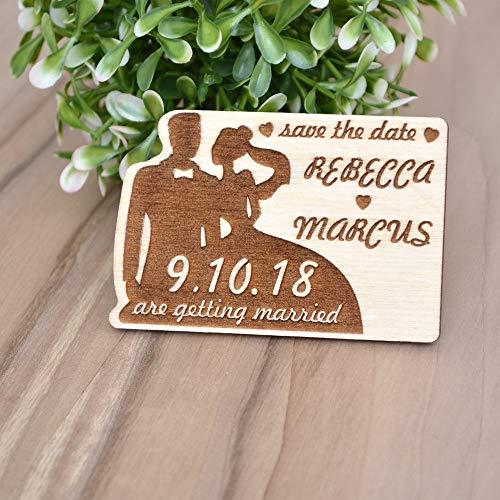 CPWood Magnete Save The Date für Hochzeit, Save The Date, Magnete, rustikales Holz, Save The Date, Magnete (Holz-save The Date)