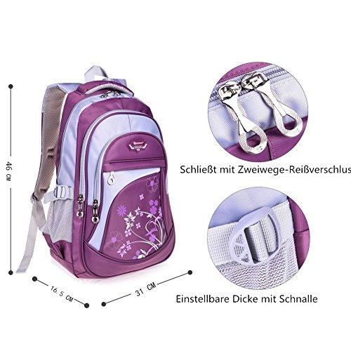 Leefrei Schulrucksack Schulranzen Schultasche Sports Rucksack Freizeitrucksack Daypacks Backpack für Mädchen Jungen & Kinder Damen Herren Jugendliche mit der Großen Kapazität (Lila-Blume) - 4