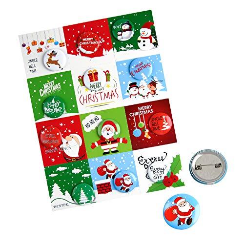 FEPITO 12 Stück Frohe Weihnachten Button Pins Mini Pinback Buttons mit Weihnachtskarten für Kinder Weihnachts Party Supplies, Größe 1 Zoll / 25mm