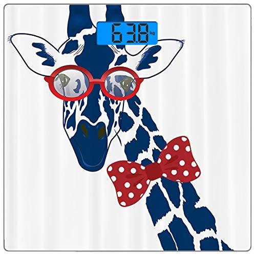 Precision Digital Körpergewicht Waage Giraffe Wildlife Animal von Ultra Slim Gehärtetes Glas Personenwaage Genaue Gewichtsmessungen, lustige skurrile lustige Giraffe mit Hipster-Sonnenbrille und Flieg