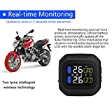 ONEVER Wireless Motorcycle Tire Pressure Alarm Monitor System TPMS LCD Display Motor 2 External Sensor Temperature Alarm