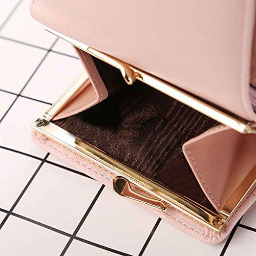 Miaomiao Womens Metal Frame Piccola borsa a frizione Portafoglio Trifold portafoglio Portafoglio di cambio viola