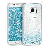 kwmobile Samsung Galaxy S7 Hülle - Handyhülle für Samsung Galaxy S7 - Handy Case in Blau Weiß Transparent