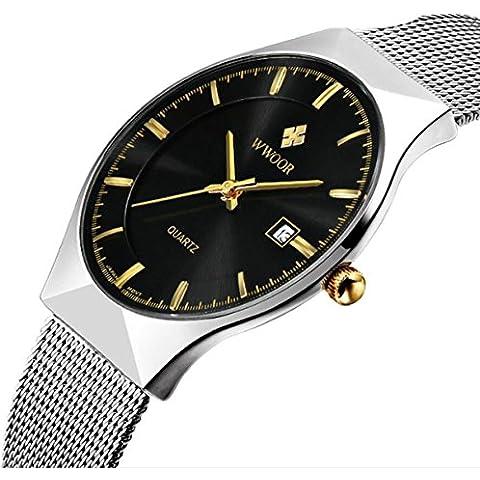 Genießen Orologio automatico da polso con cronografo, realizzato in acciaio inossidabile dallo stile elegante, nero, 12*6*2