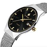 Genießen Armbanduhren Automatik Chronograph Uhr Edelstahl Uhrarmband Elegant (Schwarz)