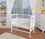 WALDIN Baby,Lettino culla,altezza regolabile,paracolpi e materasso,in 16 varianti, bianco laccato,bianco/stella grigio-rosa