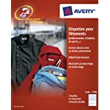 AVERY- 45 Etiquettes autocollantes différents formats pour identifier les vêtements. Inscription au feutre indélébile.