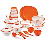 BMS Lifestyle All-in-One Kitchen Combo Designer Food Safe Serving Casserole , Container / Bowl Gift Set Of 20 Pcs, Orange