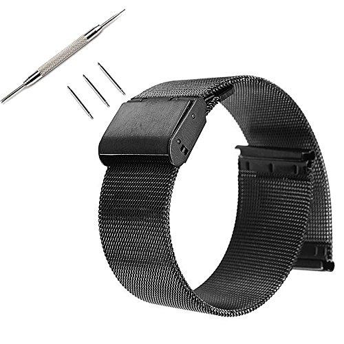 Pinhen 22mm Uhrenarmband Edelstahl - Gear S3 Armband Metall Ersatzband für Galaxy Watch 46mm, Huawei Watch GT, LG G Watch, Moto 360 46mm, Pebble Time, Ticwatch Pro, Amazfit Pace (Mesh Black) (360 Metall Band Moto Watch)