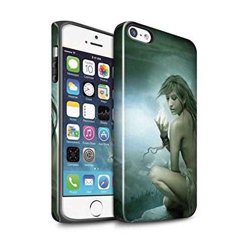Officiel Elena Dudina Coque / Brillant Robuste Antichoc Etui pour Apple iPhone SE / Masque d'Hiver Design / Un avec la Nature Collection Feu Blanc