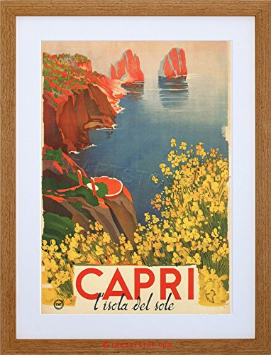 TRAVEL TOURISM CAPRI SUN ISLAND FLOWERS SEA ITALY FRAMED PRINT F12X7015 (Capri Light Island)