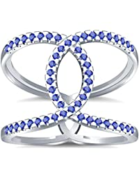 Silvernshine Halo Twist Tanzanite CZ Diamond Engagement Ring 14k White Gold Plated Bridal Ring Set