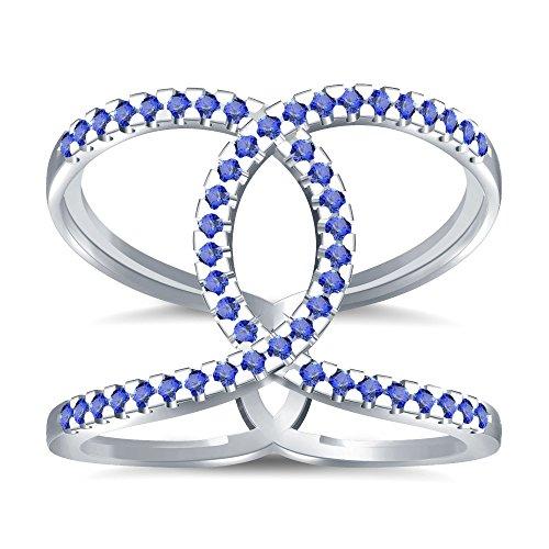 Silvernshine Halo Twist Tanzanite CZ Diamond Engagement Ring 14k White Gold Plated Bridal Ring Set