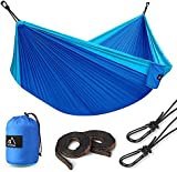 """Double Camping Hammock, 118""""(L) x 78""""(W) Terra Hiker Lightweight Hammock, with Hammock Straps & Steel Carabiners, Portable Hammock for Backpacking, Travel, Beach, Yard for 2 Person"""