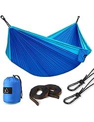 Terra Hiker Hamac de Camping, Charge Max. 300KG, 300 x 200 cm, Nylon à Parachute, 2 Mousquetons et 2 Sangles Inclus, Pour Randonnée Voyage Plage Jardin
