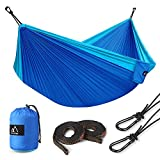 "Double Camping Hammock, Terra Hiker Lightweight Hammock, with Hammock Straps & Steel Carabiners, Portable Hammock for Backpacking, Travel, Beach, Yard for 2 Person, 118""(L) x 78""(W) (Blue)"